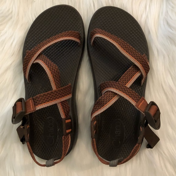 dd0045d57869 Chaco Shoes - Chaco Brown Orange Striped Classic Sport Sandals